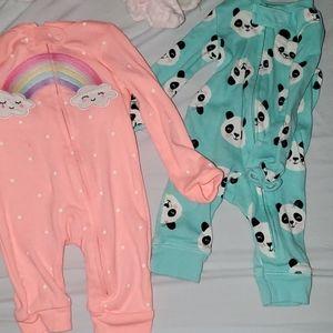Lot of 2 Carters Newborn Girl zip up Pjs Panda